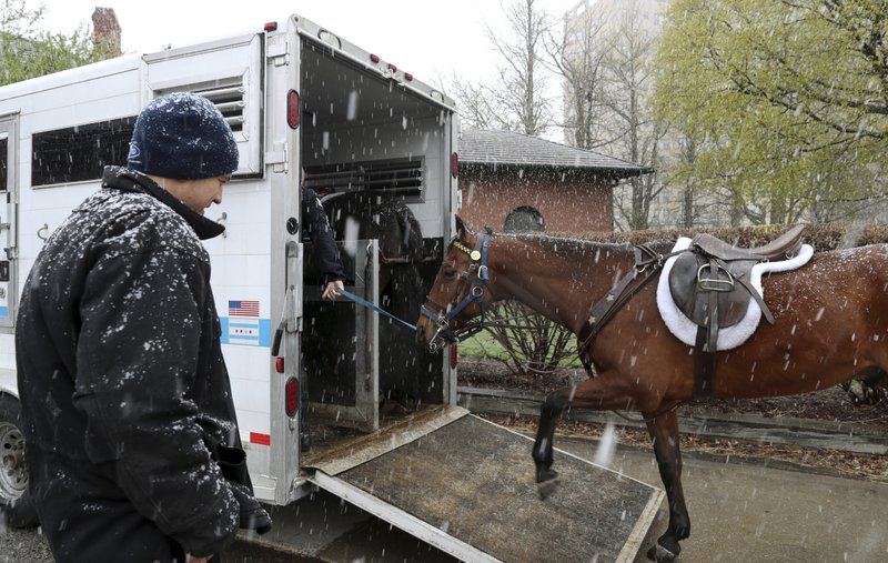 Chicago Police Sgt. Richard Unizycki, watches as a fellow sergeant takes a police horse into a transport trailer at the South Shore Cultural Center as snow falls Saturday, April 27, 2019, in Chicago. (John J. Kim/Chicago Tribune via AP)