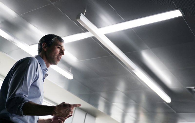 Democratic presidential candidate and former Texas congressman Beto O'Rourke speaks at the University of Nevada, Las Vegas, during a campaign stop Friday, April 26, 2019, in Las Vegas. (AP Photo/John Locher)