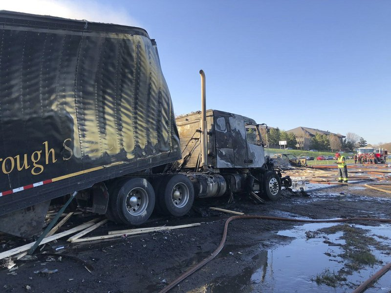 This Thursday, April 25, 2019 photo provided by West Metro Fire Rescue shows the remains of a tractor-trailer at the scene of a deadly pileup involving over two dozen vehicles near Denver. (Ronda Scholting/West Metro Fire Rescue via AP)