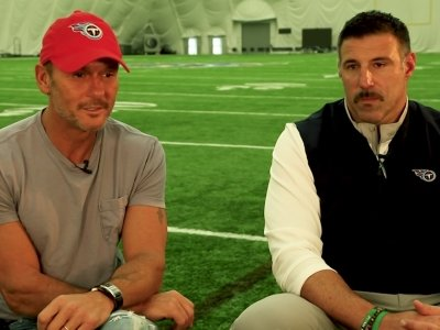 Country music star Tim McGraw and Tennessee Titans Head Coach Mike Vrabel are gearing up for a busy sports week in Nashville, Tennessee, as the Music City prepares to host the NFL Draft. (April 22)
