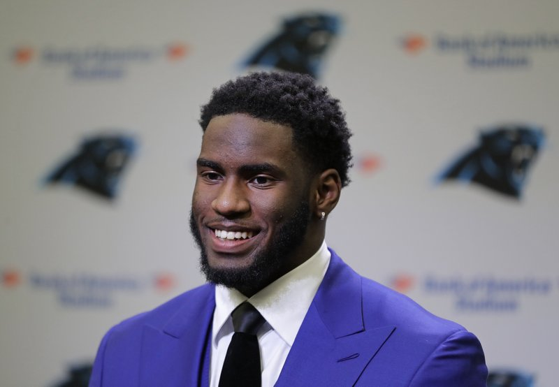 Carolina Panthers draft choice Brian Burns speaks to the media during a news conference for the NFL football team in Charlotte, N. (AP Photo/Chuck Burton)