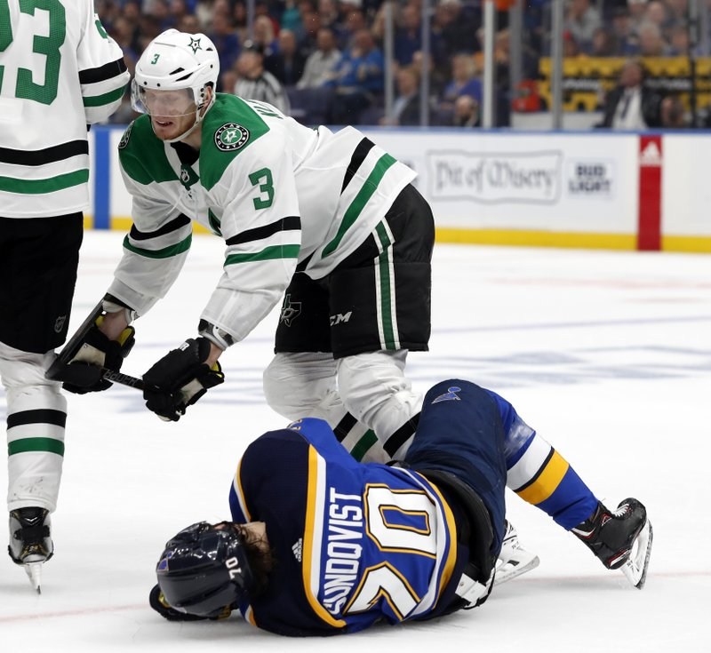Dallas Stars' John Klingberg (3), of Sweden, knocks down St. Louis Blues' Oskar Sundqvist (70), also of Sweden, during the second period in Game 2 of an NHL second-round hockey playoff series Saturday, April 27, 2019, in St. (AP Photo/Jeff Roberson)