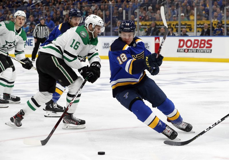 Dallas Stars' Jason Dickinson (16) and St. Louis Blues' Vladimir Tarasenko, of Russia, chase after the puck during the second period in Game 2 of an NHL second-round hockey playoff series Saturday, April 27, 2019, in St. (AP Photo/Jeff Roberson)