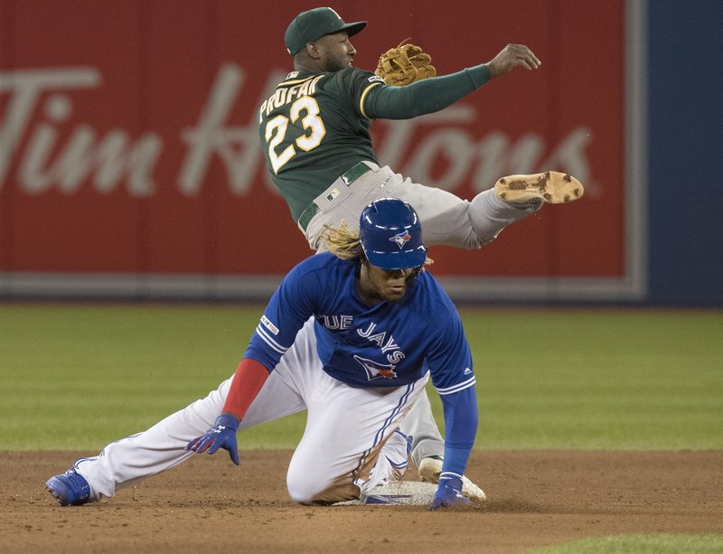 Toronto Blue Jays' Vladimir Guerrero Jr., bottom, slides into second base but is out on the force as Oakland Athletics' Jurickson Profar (23) throws to first base in the fifth inning of a baseball game in Toronto, Saturday, April 27, 2019. (Fred Thornhill/The Canadian Press via AP)