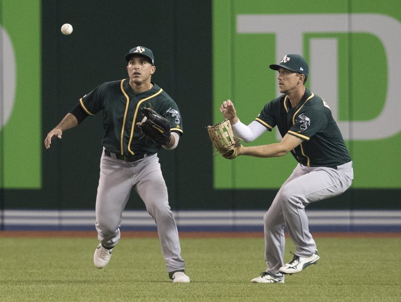 Oakland Athletics' Ramon Laureano and Stephen Piscotty chase down a bouncing ball off the bat of Toronto Blue Jays' Justin Smoak in the fourth inning of a baseball game in Toronto, Saturday, April 27, 2019. (Fred Thornhill/The Canadian Press via AP)
