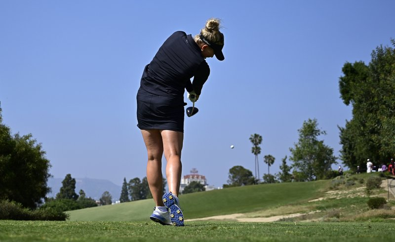 Nanna Koerstz Madsen, of Denmark, tees off on the ninth hole during the third round of the Hugel-Air Premia LA Open golf tournament at Wilshire Country Club, Saturday, April 27, 2019, in Los Angeles. (AP Photo/Mark J. Terrill)