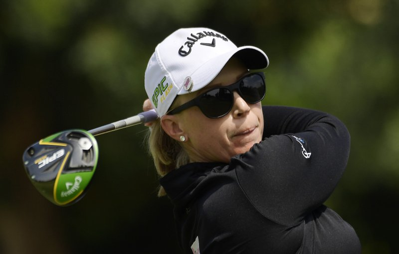 Morgan Pressel tees off on the sixth hole during the third round of the Hugel-Air Premia LA Open golf tournament at Wilshire Country Club, Saturday, April 27, 2019, in Los Angeles. (AP Photo/Mark J. Terrill)