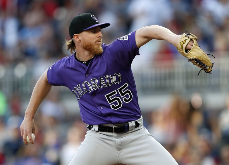 Colorado Rockies starting pitcher Jon Gray (55) works in the first inning of a baseball game against the Atlanta Braves, Saturday, April 27, 2019, in Atlanta.(AP Photo/John Bazemore)