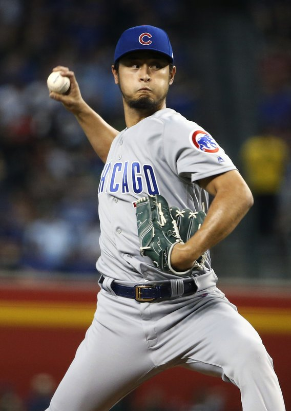 Chicago Cubs starting pitcher Yu Darvish throws against the Arizona Diamondbacks during the first inning of a baseball game, Saturday, April 27, 2019, in Phoenix. (AP Photo/Ralph Freso)