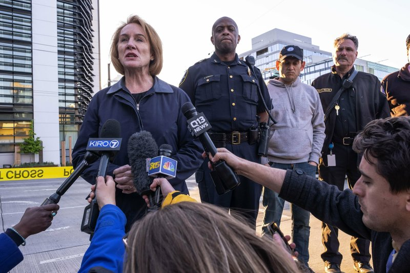 Seattle Mayor Jenny Durkan talks to reporters about the construction crane accident near the intersection of Mercer Street and Fairview Avenue that killed several people and injured others Saturday, April 27, 2019, in Seattle. (Dean Rutz/The Seattle Times via AP)
