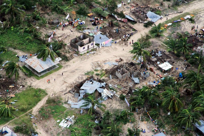 In this photo provided by the United Nations Office for the Coordination of Humanitarian Affairs (OCHA), badly damaged communities are seen from an aerial view, Ibo island, Mozambique, on Saturday, April 27, 2019. (Saviano Abreu/OCHA via AP)