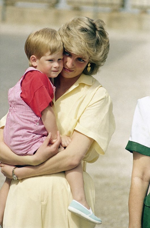 FILE - In this Sunday, Aug. 9, 1987 file photo, Diana, the Princess of Wales holds son Prince Harry while royal families posed for photographers at the Royal Palace, in Majorca, Spain. (AP Photo/John Redman, File)