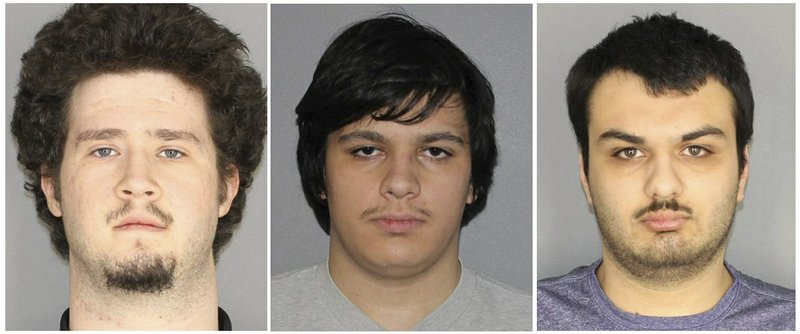 This combination of three Jan. 22, 2019, photos released by the Greece, N.Y., Police Department shows from left, Brian Colaneri, Andrew Crysel and Vincent Vetromile. (Greece Police Department via AP)