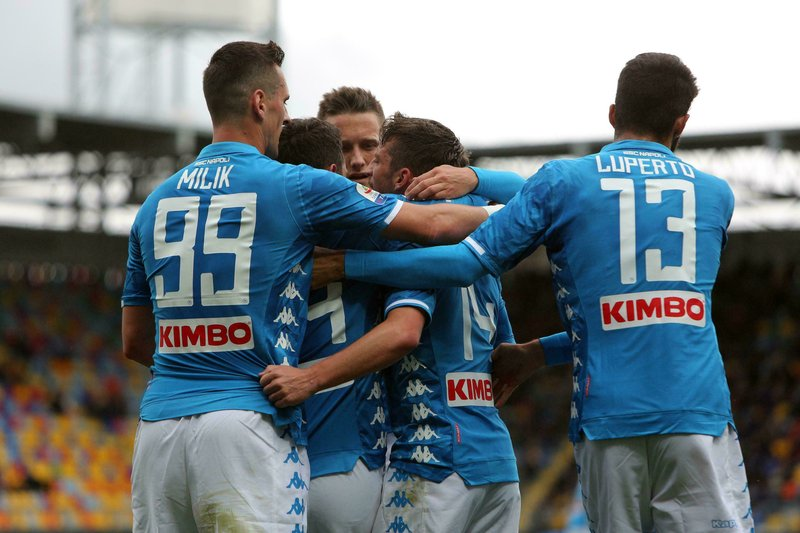 Napoli's Dries Mertens, 2nd right, celebrates after scoring during the Serie A soccer match between Frosinone and Napoli, at the Benito Stirpe stadium in Frosinone, Italy, Sunday, April 28, 2019. (Federico Proietti/ANSA via AP)