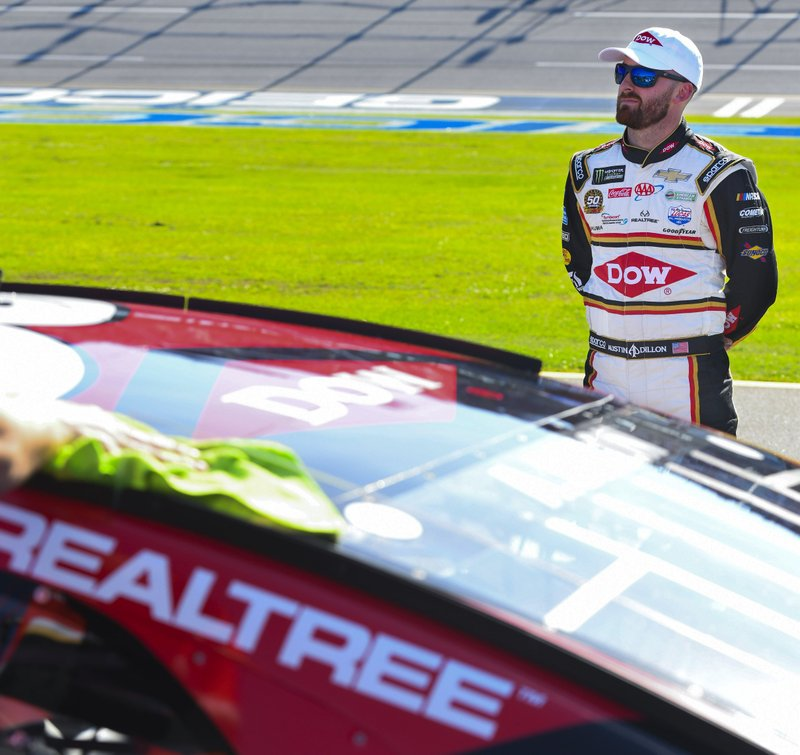 NASCAR Cup Series driver Austin Dillon (3) awaits the final round of qualifying for a NASCAR Cup Series auto race at Talladega Superspeedway, Saturday, April 27, 2019, in Talladega, Ala. (AP Photo/Julie Bennett)