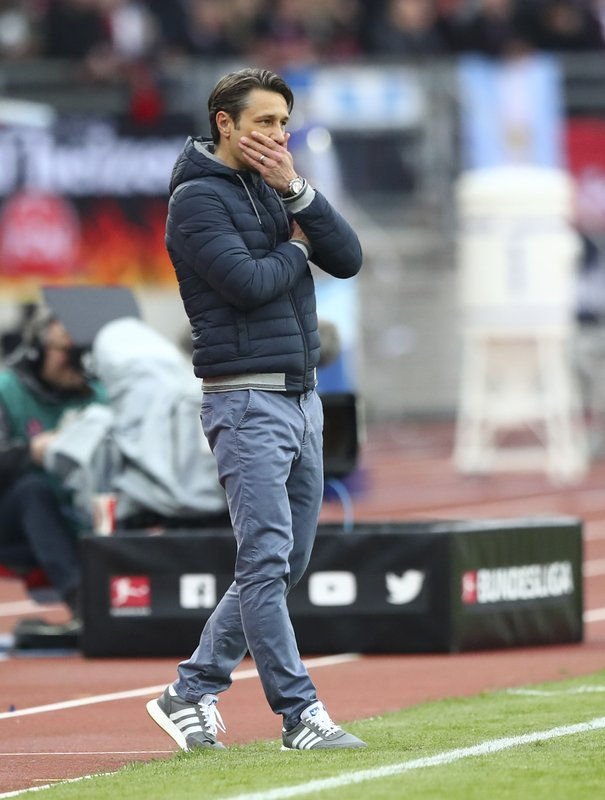 Bayern coach Niko Kovac stands during the German Bundesliga soccer match between 1. FC Nuremberg and FC Bayern Munich in Nuremberg, Germany, Sunday, April 28, 2019. (AP Photo/Matthias Schrader)