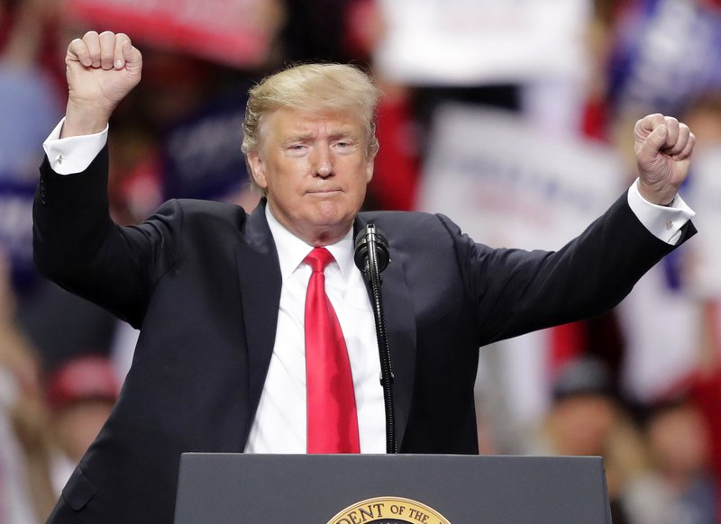 President Donald Trump speaks during a Make America Great Again rally on Saturday, April 27, 2019, in Green Bay, Wis. (William Glasheen/The Post-Crescent via AP)