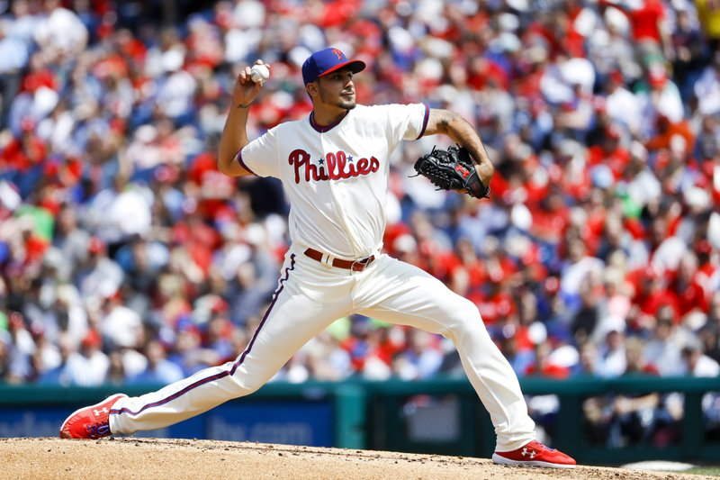 Philadelphia Phillies' Zach Eflin pitches during the third inning of a baseball game against the Miami Marlins, Sunday, April 28, 2019, in Philadelphia. (AP Photo/Matt Slocum)