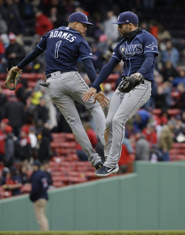 Tampa Bay Rays' Willy Adames, left, and Kevin Kiermaier, right, leap as they celebrate a victory over the Boston Red Sox in a baseball game at Fenway Park, Sunday, April 28, 2019, in Boston. (AP Photo/Steven Senne)
