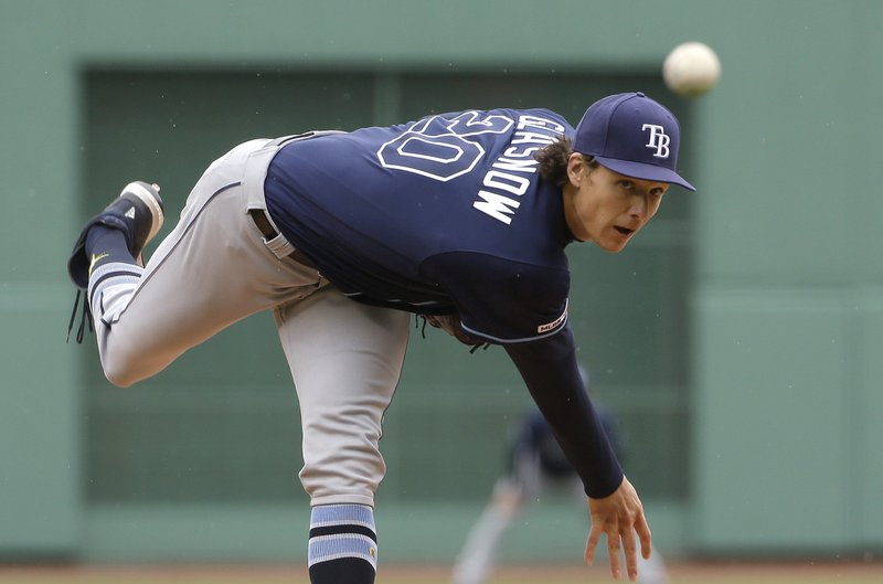 Tampa Bay Rays' Tyler Glasnow delivers a pitch during the first inning of a baseball game against the Boston Red Sox at Fenway Park, Sunday, April 28, 2019, in Boston. (AP Photo/Steven Senne)