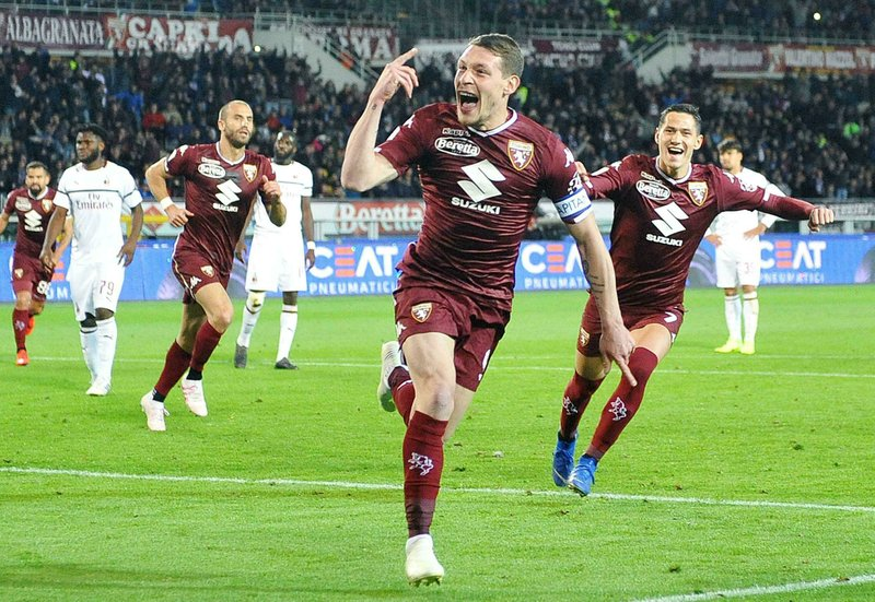 Torino's Andrea Belotti celebrates after scoring  during the Italian Serie A soccer match between Torino FC and AC Milan at the Olimpico Stadium in Turin, Italy, Sunday, April 28, 2019. (Alessandro Di Marco/ansa via AP)