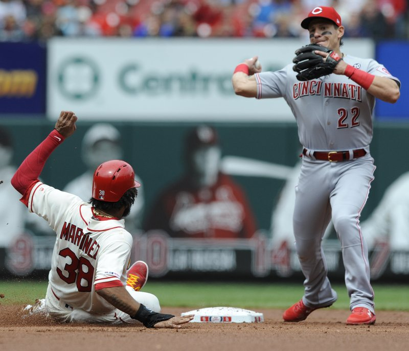 Cincinnati Reds' Derek Dietrich (22) forces out St. Louis Cardinals' Jose Martinez (38) and completes a double play by getting Yadier Molina at first in the second inning of a baseball game, Saturday, April 27, 2019 at Busch Stadium in St. (AP Photo/Bill Boyce)
