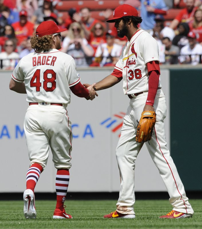 St. Louis Cardinals' Harrison Bader (48) replaces Jose Martinez (38) in right field against the Cincinnati Reds in the sixth inning of a baseball game, Saturday, April 27, 2019, at Busch Stadium in St. (AP Photo/Bill Boyce)