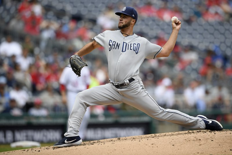 San Diego Padres starting pitcher Joey Lucchesi delivers a pitch during the second inning of a baseball game against the Washington Nationals, Sunday, April 28, 2019, in Washington. (AP Photo/Nick Wass)