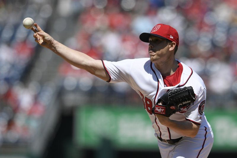 Washington Nationals starting pitcher Jeremy Hellickson delivers a pitch during the first inning of a baseball game against the San Diego Padres, Sunday, April 28, 2019, in Washington. (AP Photo/Nick Wass)