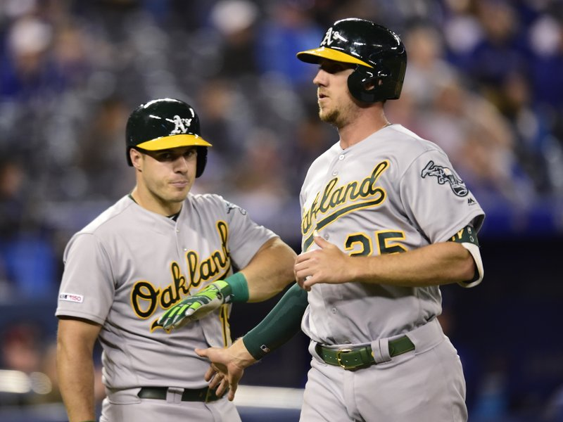 Oakland Athletics' Stephen Piscotty (25) is congratulated by teammate Josh Phegley after scoring the go-ahead run against the Toronto Blue Jays during the 11th inning of baseball game action in Toronto, Sunday, April 28, 2019. (Frank Gunn/The Canadian Press via AP)