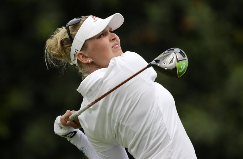 Nanna Koerstz Madsen, of Denmark, tees off on the sixth hole during the final round of the Hugel-Air Premia LA Open golf tournament at Wilshire Country Club Sunday, April 28, 2019, in Los Angeles. (AP Photo/Mark J. Terrill)