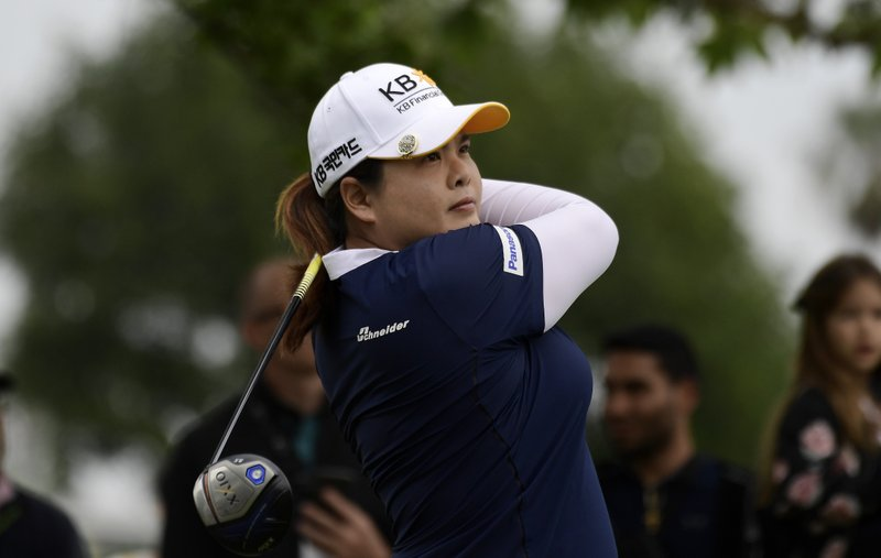Inbee Park, of South Korea, tees off on the fifth hole during the final round of the Hugel-Air Premia LA Open golf tournament at Wilshire Country Club, Sunday, April 28, 2019, in Los Angeles. (AP Photo/Mark J. Terrill)