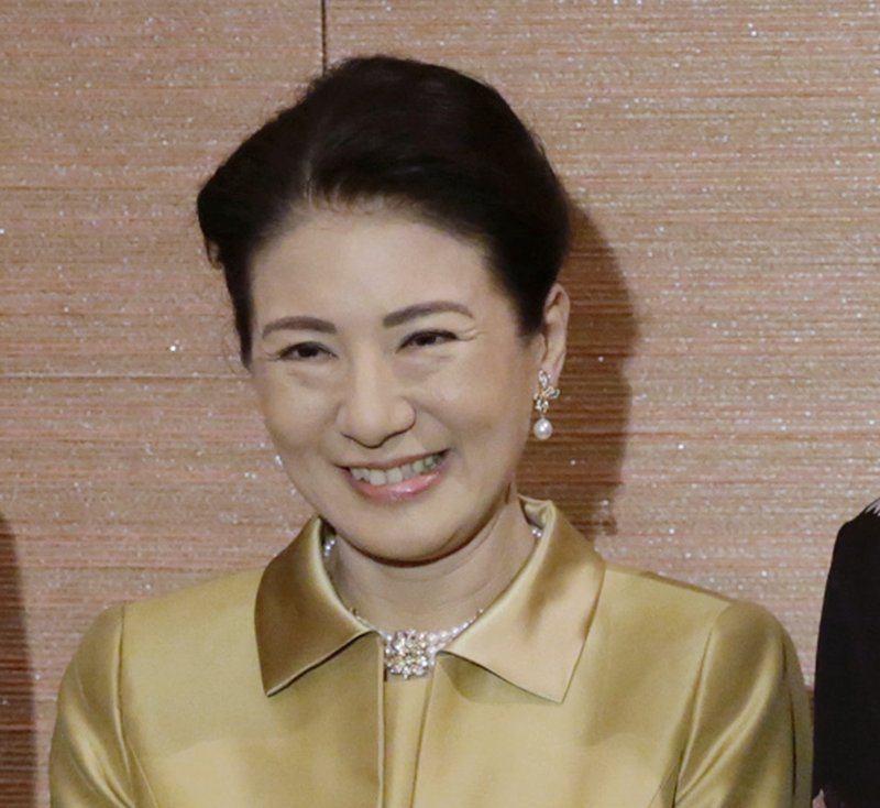 FILE - In this Oct. 12, 2017, file photo, Japan's Crown Princess Masako poses for photos prior to the official celebration of the 150 years anniversary of Japan-Denmark relationship and gala dinner in Tokyo. (AP Photo/Eugene Hoshiko, File)