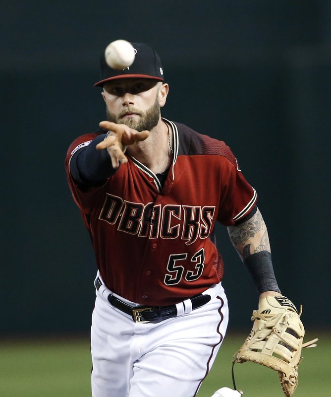 Arizona Diamondbacks' Christian Walker underhands the ball to Diamondbacks pitcher Luke Weaver, not pictured, as Weaver covers first base on a ground ball hit by Chicago Cubs' Jason Heyward during the second inning of a baseball game, Sunday, April 28, 2019, in Phoenix. (AP Photo/Ralph Freso)