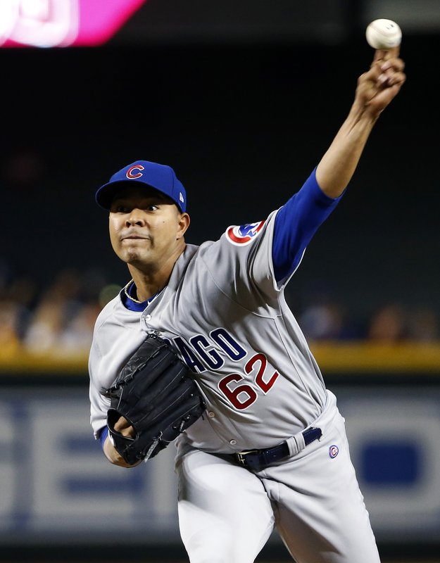 Chicago Cubs starting pitcher Jose Quintana throws against the Arizona Diamondbacks during the first inning of a baseball game, Sunday, April 28, 2019, in Phoenix. (AP Photo/Ralph Freso)