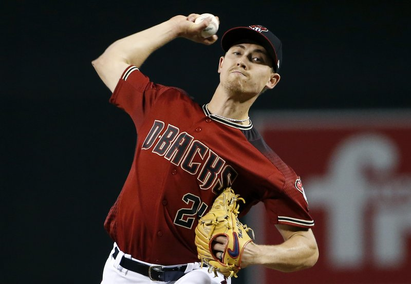 Arizona Diamondbacks starting pitcher Luke Weaver throws against the Chicago Cubs during the first inning of a baseball game, Sunday, April 28, 2019, in Phoenix. (AP Photo/Ralph Freso)