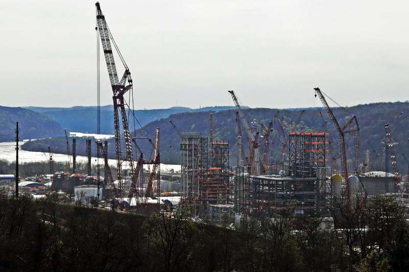 FILE - This April 18, 2019 file photo shows part of a petrochemical plant being built on the banks of the Ohio River in Monaca, Pa. (AP Photo/Gene J. Puskar, File)
