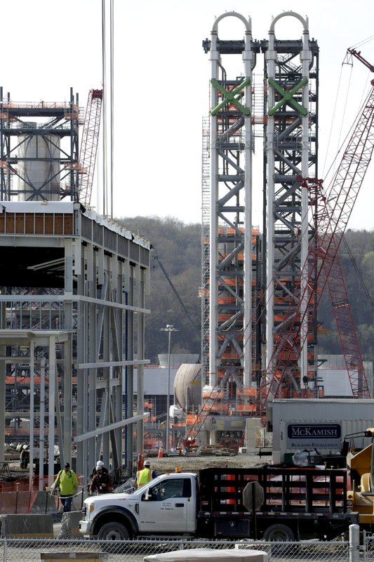 FILE - In this April 18, 2019 file photo work continues on part of a petrochemical plant being built on the banks of the Ohio River in Monaca, Pa. (AP Photo/Gene J. Puskar, File)