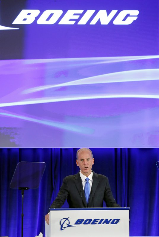 Boeing Chief Executive Dennis Muilenburg speaks during the company's annual shareholders meeting at the Field Museum in Chicago, Monday, April 29, 2019. (AP Photo/Jim Young, Pool)