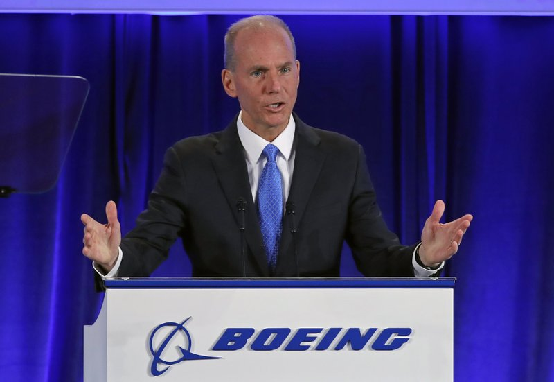 Boeing Chief Executive Dennis Muilenburg speaks during their annual shareholders meeting at the Field Museum in Chicago, Monday, April 29, 2019. (AP Photo/Jim Young, Pool)