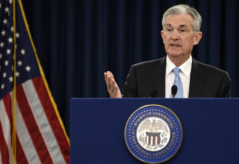 FILE - In this March 20, 2019, file photo, Federal Reserve Chair Jerome Powell speaks during a news conference in Washington. (AP Photo/Susan Walsh, File)