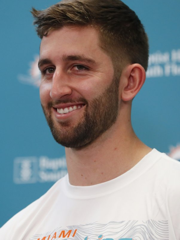 Miami Dolphins NFL football quarterback Josh Rosen smiles as he speaks during a news conference, Monday, April 29, 2019, at the Dolphins training facility in Davie, Fla. (AP Photo/Wilfredo Lee)