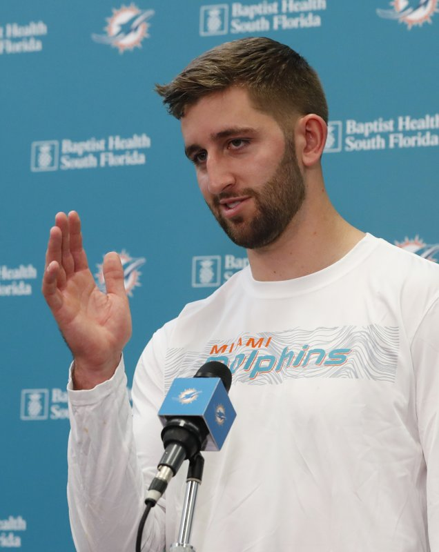 Miami Dolphins NFL football quarterback Josh Rosen gestures as he speaks during a news conference, Monday, April 29, 2019, at the Dolphins training facility in Davie, Fla. (AP Photo/Wilfredo Lee)