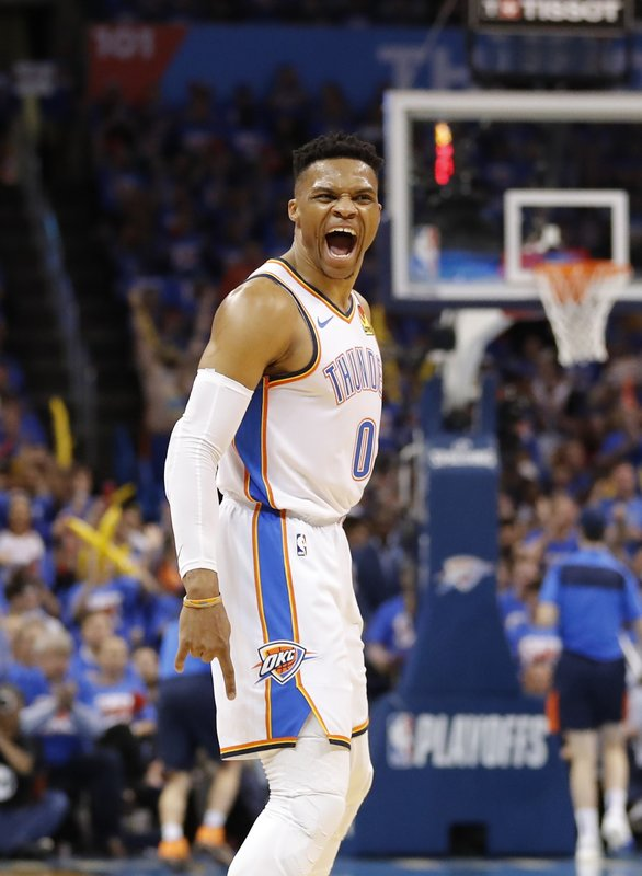 Oklahoma City Thunder guard Russell Westbrook (0) celebrates after scoring a three point basket against the Portland Trail Blazers in the first half of Game 4 of an NBA basketball first-round playoff series Sunday, April 21, 2019, in Oklahoma City. (AP Photo/Alonzo Adams)