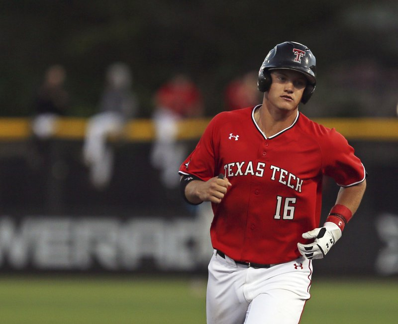 Texas Tech's Josh Jung (16) runs the bases after hitting a home run during an NCAA college baseball game against Oklahoma State in Lubbock, Texas, Saturday, April 27, 2019. (Sam Grenadier/Lubbock Avalanche-Journal via AP)