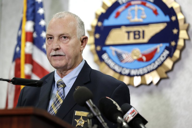 Sumner County Sheriff Sonny Weatherford speaks at a news conference at the Tennessee Bureau of Investigation Monday, April 29, 2019, in Nashville, Tenn. (AP Photo/Mark Humphrey)