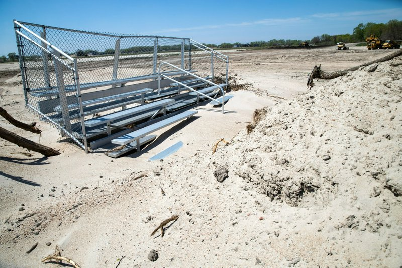 The Nebraska National Guard has submitted a bill for the reconstruction of the flood-prone Camp Ashland training site on the Platte River, in Ashland, Neb. (Brendan Sullivan/Omaha World-Herald via AP)
