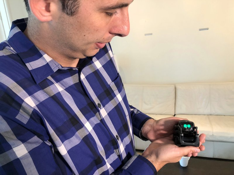 In this July 30, 2018 file photo, Anki Inc. CEO Boris Sofman holds Vector, the company's new home robot, in New York. (AP Photo/Ted Shaffrey, file)