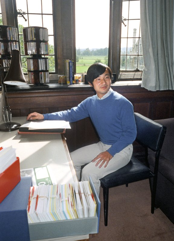 This Sept. 9, 1985, photo shows Crown Prince Naruhito in his dormitory room at the Oxford in England. (Kyodo News via AP)