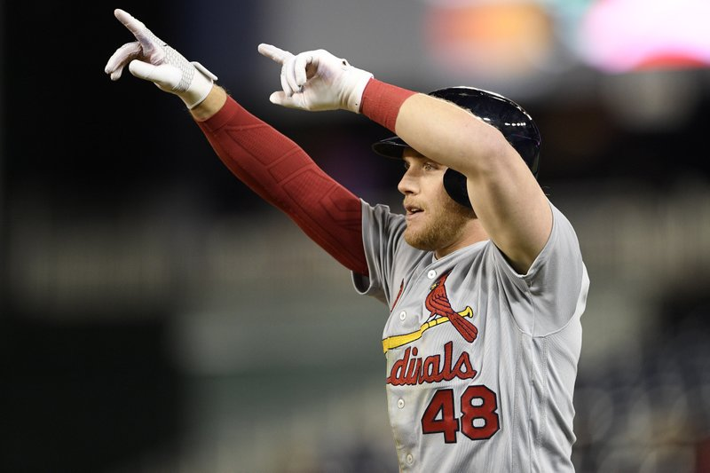 St. Louis Cardinals' Harrison Bader gestures after he hit a single during the eighth inning of a baseball game against the Washington Nationals, Monday, April 29, 2019, in Washington. (AP Photo/Nick Wass)